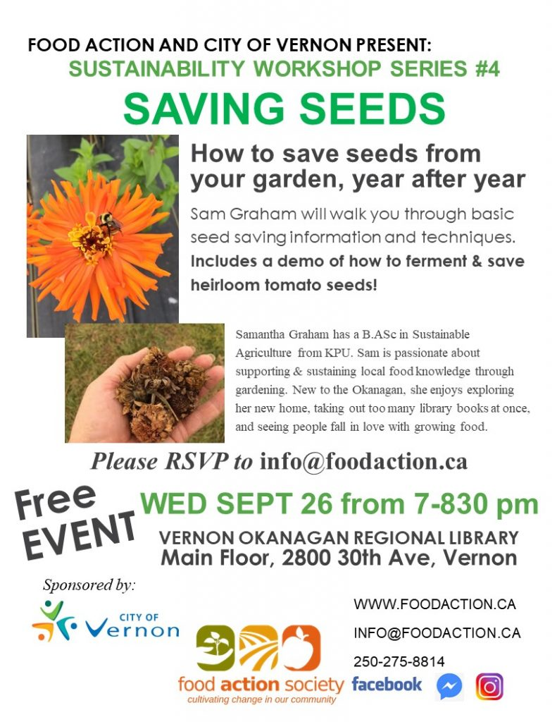 Sustainability Workshop Series #4 - Saving Seeds @ Okanagan Regional Library Vernon