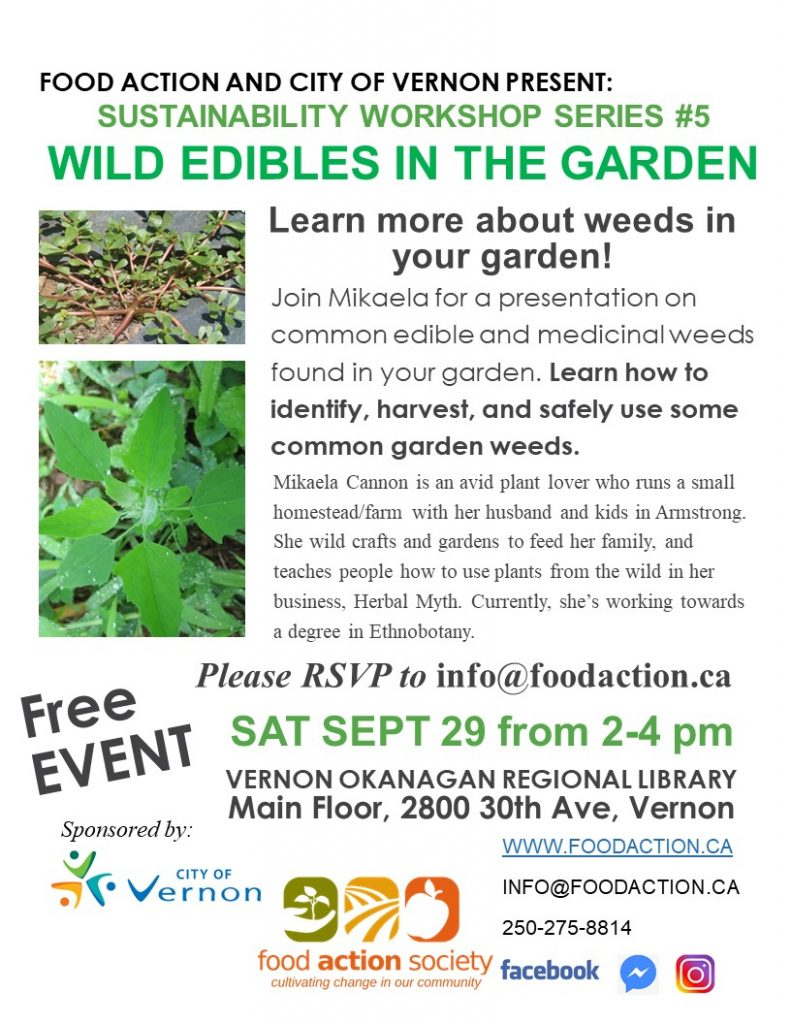 Sustainability Series #5 Wild Edibles in the Garden @ Okanagan Regional Library Vernon