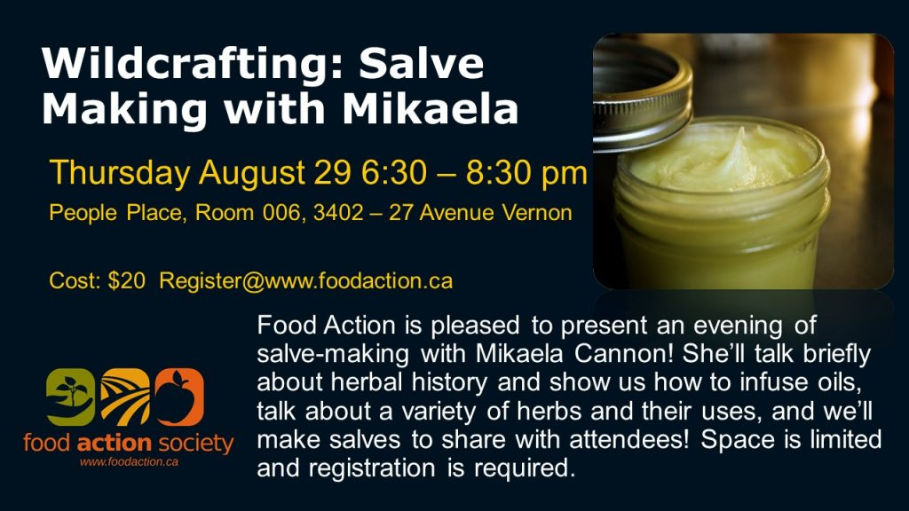 Wild Crafting Salves with Mikaela Cannon @ People Place (Downstairs)